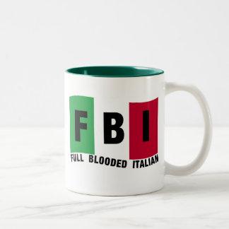 Camisetas llenas del ITALIANO del FBI Blooded Taza De Dos Tonos