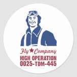 Camisetas militares del piloto de la aviación del pegatina redonda
