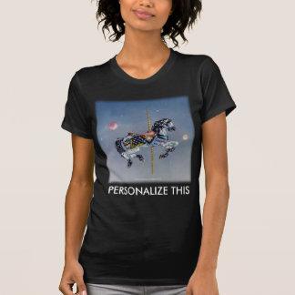Camisetas oscuras para mujer - caballo gris del