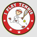 Camisetas para hombre y regalos del tenis del jueg pegatina