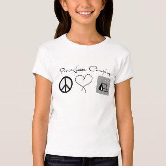 Camisetas que acampa del amor de la paz para los