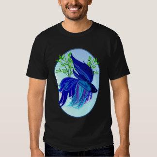 Camisetas siamés azul grande del óvalo de los polera