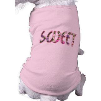 Camisetas sin mangas acanaladas del perrito dulce playera sin mangas para perro