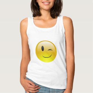 Camisetas sin mangas del guiño de Emoji