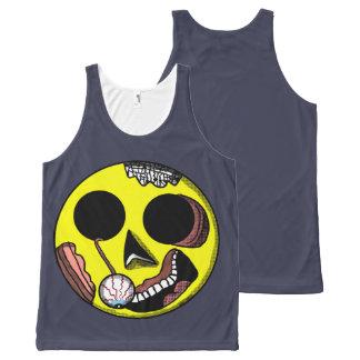 Camisetas sin mangas del smiley del zombi