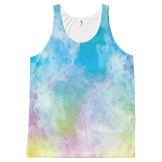Camisetas sin mangas unisex de la acuarela en playera de tirantes con estampado integral