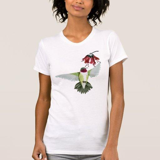 Camisetas Throated rojo del colibrí