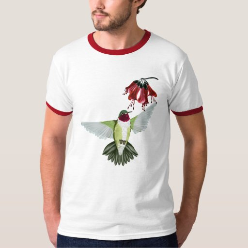 Camisetas Throated rojo del óvalo del colibrí Remera