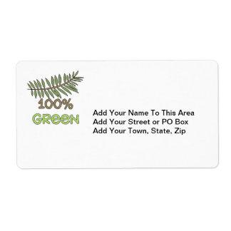 Camisetas verdes y regalos del 100 por ciento etiquetas de envío