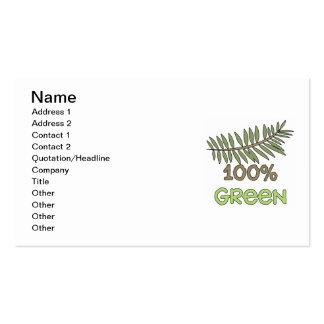 Camisetas verdes y regalos del 100 por ciento tarjetas de visita