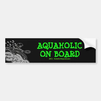 Camisetas y cosas de la silueta de Whitewater Aqua Etiqueta De Parachoque