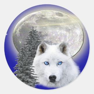 camisetas y más del lobo de la luna pegatina redonda