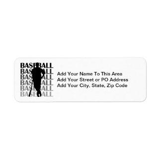 Camisetas y regalo negros del jugador de béisbol d etiqueta de remite