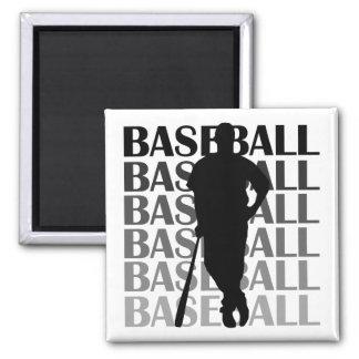 Camisetas y regalo negros del jugador de béisbol d imán cuadrado
