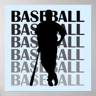 Camisetas y regalo negros del jugador de béisbol d póster