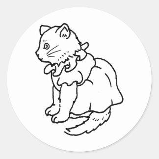 Camisetas y regalos 124 del gatito etiquetas redondas