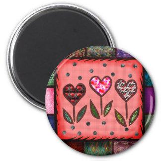 Camisetas y regalos acolchados de los corazones imán redondo 5 cm