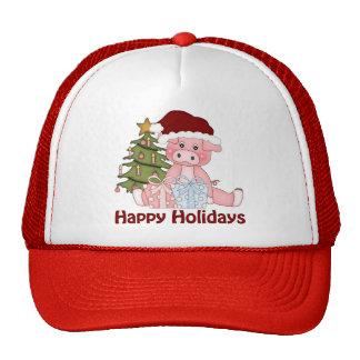 Camisetas y regalos adorables del cerdo del navida gorra