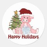 Camisetas y regalos adorables del cerdo del navida etiqueta