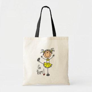 Camisetas y regalos amarillos de la animadora bolsa tela barata