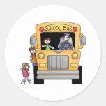 Camisetas y regalos amarillos del autobús escolar pegatinas redondas