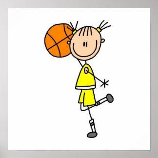 Camisetas y regalos amarillos del jugador de básqu póster