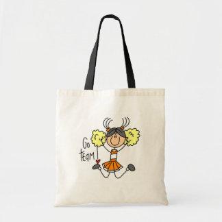 Camisetas y regalos anaranjados de la animadora bolsa tela barata