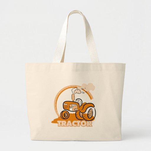 Camisetas y regalos anaranjados del tractor bolsa tela grande