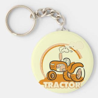 Camisetas y regalos anaranjados del tractor llavero redondo tipo pin