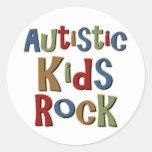 Camisetas y regalos autísticos de la roca de los etiquetas redondas