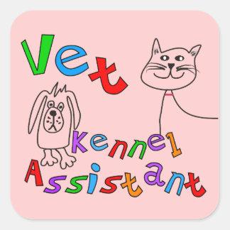 Camisetas y regalos auxiliares de la perrera del calcomanías cuadradass personalizadas