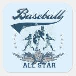 Camisetas y regalos azules de All Star del béisbol Calcomanias Cuadradas