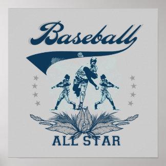Camisetas y regalos azules de All Star del béisbol Póster