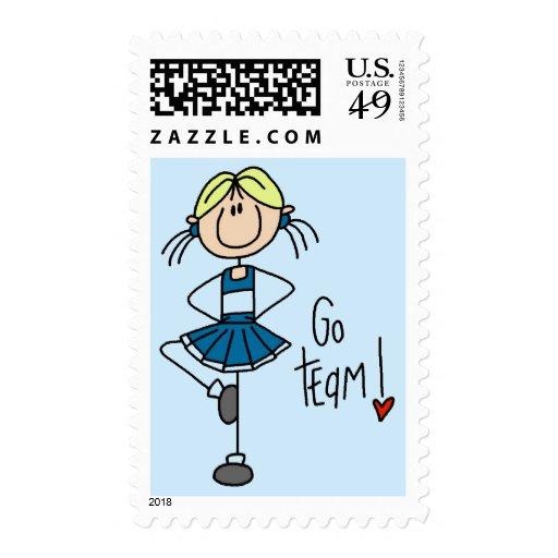 Camisetas y regalos azules de la animadora sellos