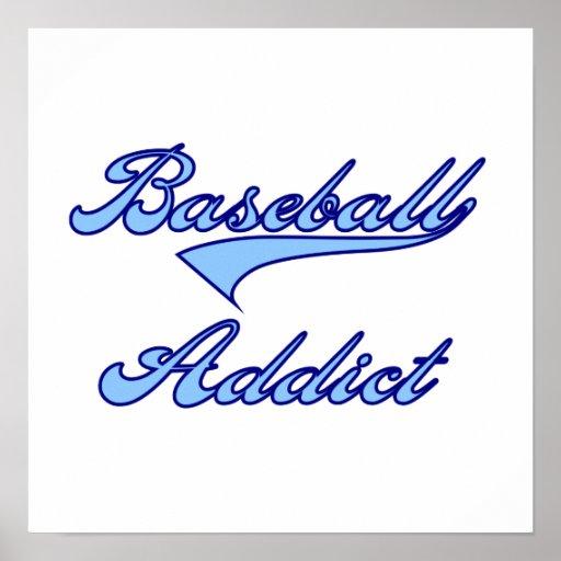 Camisetas y regalos azules del adicto al béisbol póster