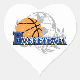 Camisetas y regalos azules del baloncesto calcomania de corazon