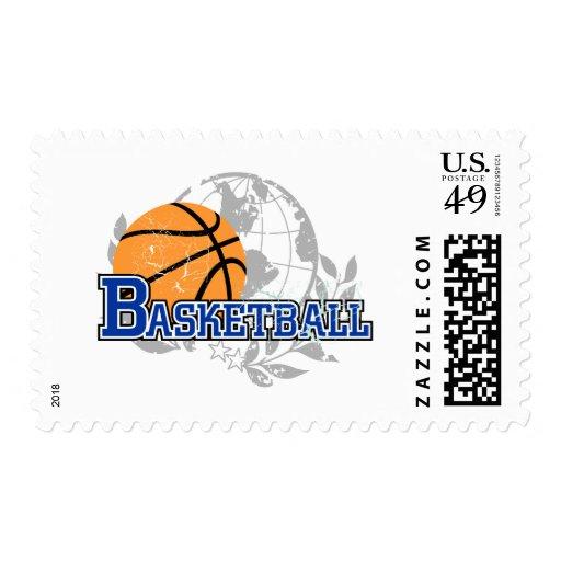 Camisetas y regalos azules del baloncesto timbre postal