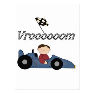 Camisetas y regalos azules del coche de carreras postales