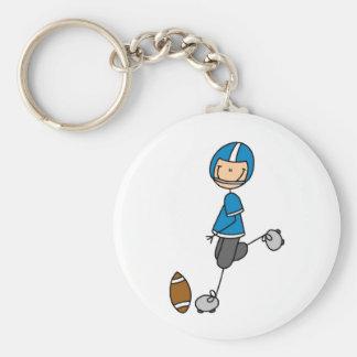 Camisetas y regalos azules del futbolista llavero redondo tipo pin
