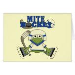 Camisetas y regalos azules del hockey del ácaro tarjetas