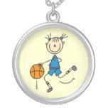 Camisetas y regalos azules del jugador de básquet  grímpola