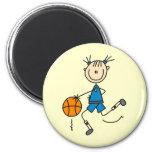 Camisetas y regalos azules del jugador de básquet  imanes para frigoríficos