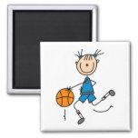Camisetas y regalos azules del jugador de básquet  imán de nevera