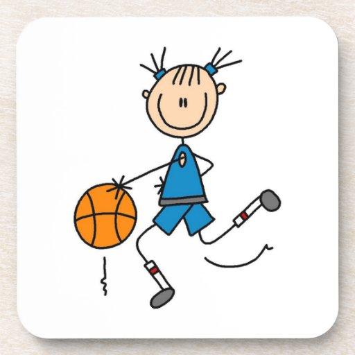 Camisetas y regalos azules del jugador de básquet  posavasos de bebida
