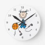 Camisetas y regalos azules del jugador de básquet  reloj de pared