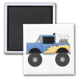 Camisetas y regalos azules del monster truck imán cuadrado