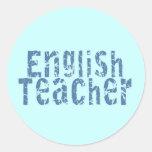 Camisetas y regalos azules del profesor de inglés etiquetas redondas