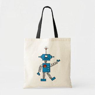 Camisetas y regalos azules del robot bolsa de mano