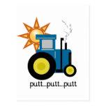 Camisetas y regalos azules del tractor del putt postal