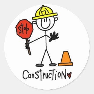 Camisetas y regalos básicos de la construcción etiquetas redondas